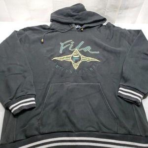 Vintage 90's Fila Sweatshirt XXL Hooded Black